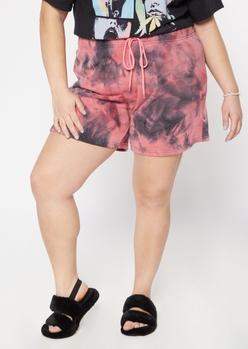 pink tie dye long sweat shorts - Main Image