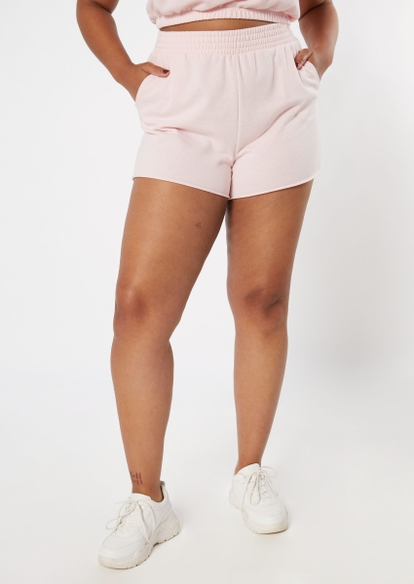 plus light pink french terry shorts - Main Image