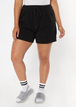 plus black long fleece sweat shorts - Main Image