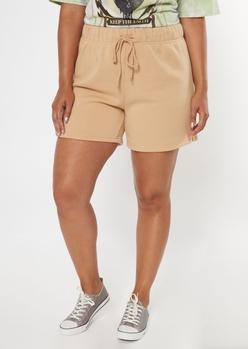 plus tan long fleece sweat shorts - Main Image