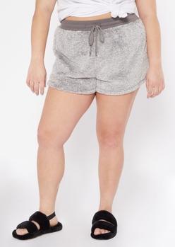 plus gray sherpa sleep shorts - Main Image