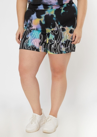 plus black tie dye flames mesh basketball shorts - Main Image