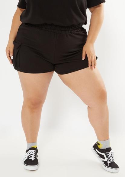 plus black french terry cargo shorts - Main Image