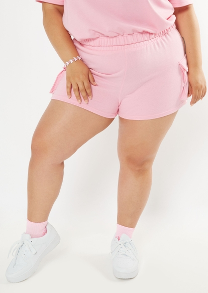 plus pink french terry cargo shorts - Main Image
