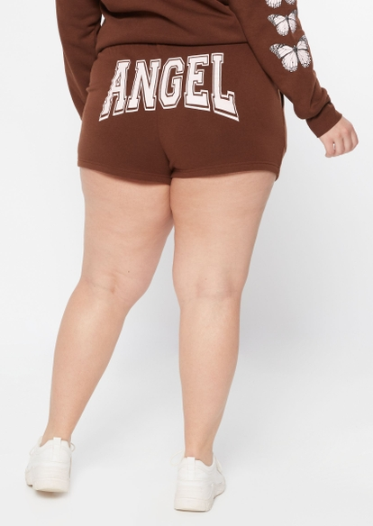 plus brown butterfly angel graphic sweat shorts - Main Image