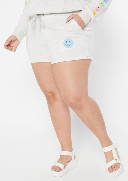 plus gray smiley face graphic sweat shorts - Main Image