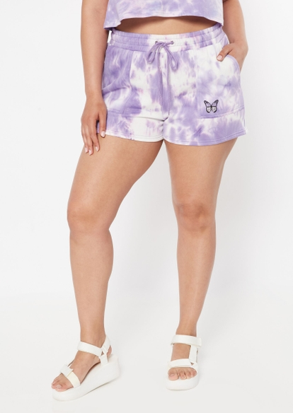 plus purple tie dye butterfly embroidered sweat shorts - Main Image