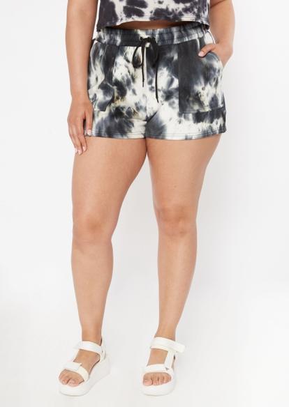 plus black tie dye sweat shorts - Main Image