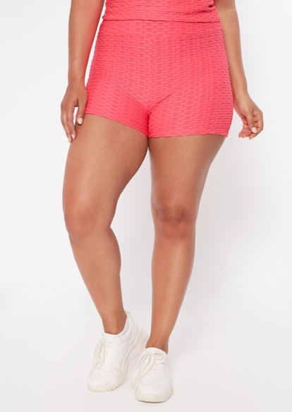 plus neon pink ruched back honeycomb shorts - Main Image
