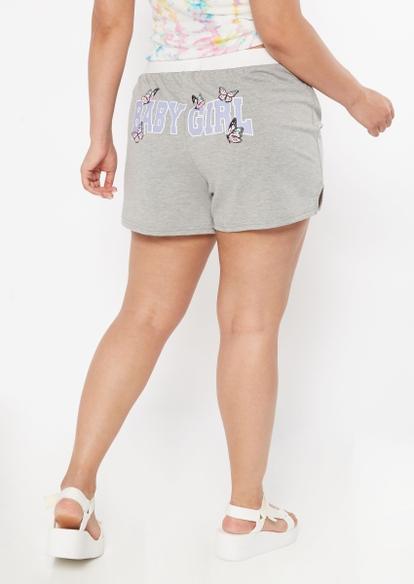 plus gray baby girl graphic cotton shorts - Main Image