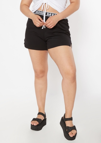 plus black scripted savage waistband shorts - Main Image