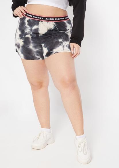 plus black tie dye angel energy knit shorts - Main Image