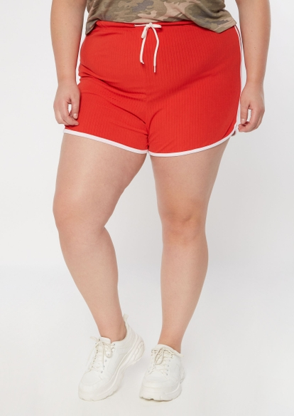 plus red ribbed knit dolphin shorts - Main Image