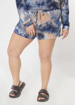 plus blue tie dye ribbed hacci knit shorts - Main Image