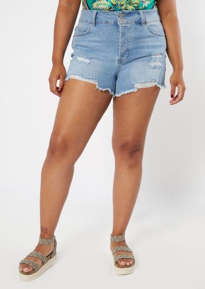 plus light wash throwback mom jean shorts - Main Image