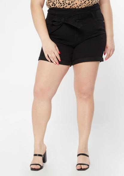plus black ultra high waisted midi shorts - Main Image