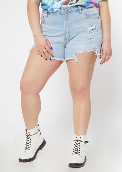 plus light wash ripped hem jean shorts - Main Image