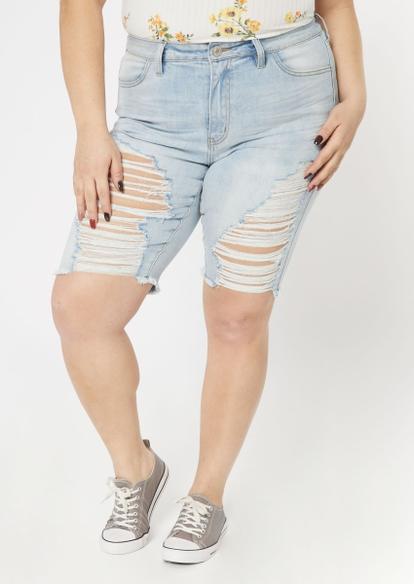 plus light wash high waisted bermuda shorts - Main Image