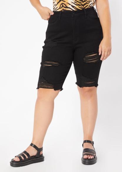 plus black high rise ultimate stretch ripped bermuda shorts - Main Image