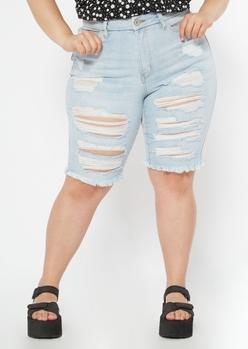 plus light wash ripped curvy bermuda shorts - Main Image