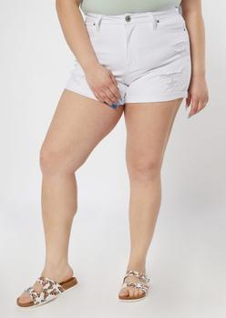 plus white high rise curvy shorts - Main Image