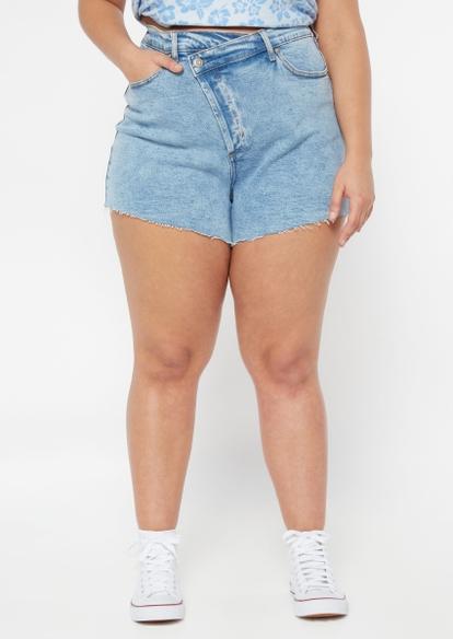 plus light wash asymmetrical waist jean shorts - Main Image