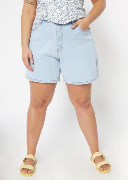 plus light wash high rise bermuda jean shorts - Main Image