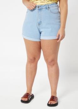 plus light wash high rise rolled hem jean shorts - Main Image