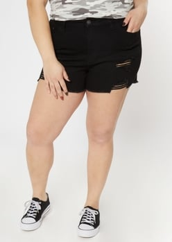 plus ultimate stretch black ripped shorts - Main Image