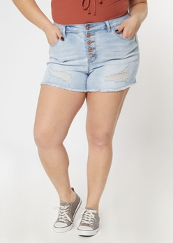 plus ultimate stretch light wash button fly shorts - Main Image