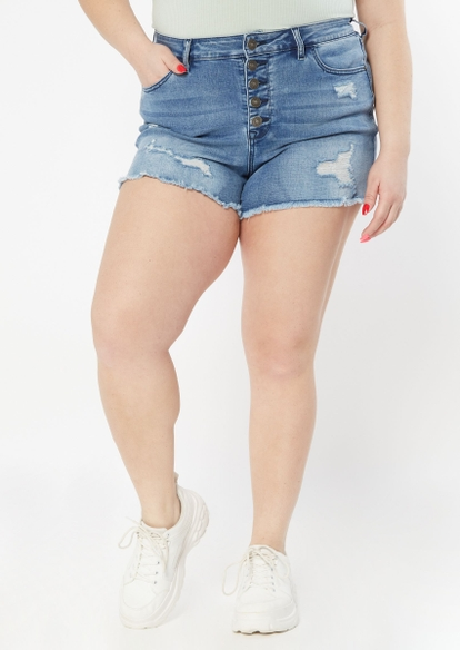 plus ultimate stretch medium wash button fly shorts - Main Image