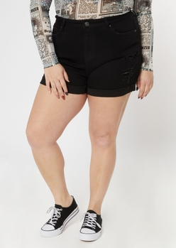 plus ultimate stretch black high waisted shorts - Main Image