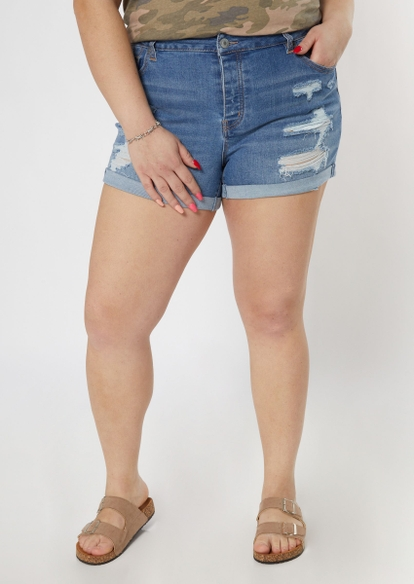 plus light wash mid rise ripped recycled jean shorts - Main Image
