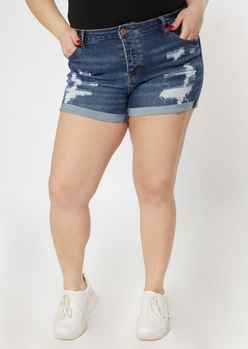 plus dark wash mid rise ripped recycled jean shorts - Main Image