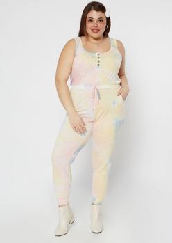 plus pastel tie dye henley jumpsuit - Main Image