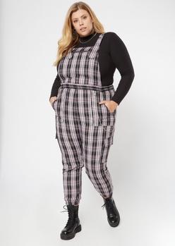 plus black plaid print chain jumpsuit - Main Image