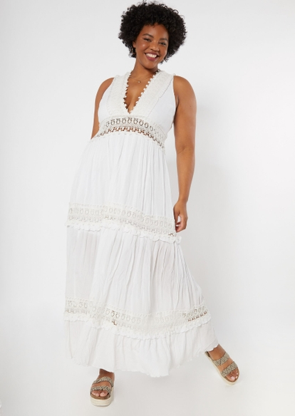 plus white crochet inset deep v neck maxi dress - Main Image