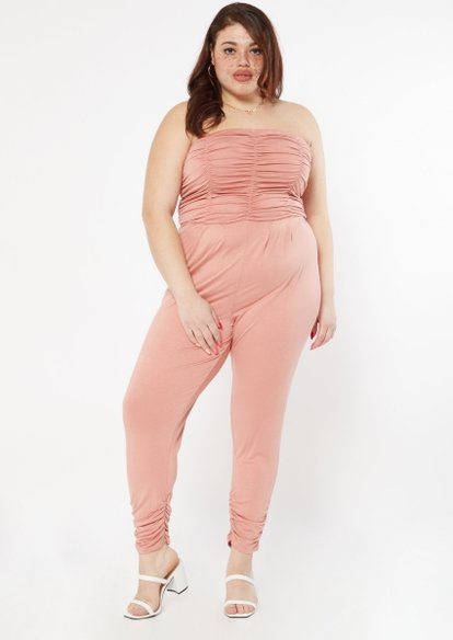 plus pink ruched strapless jumpsuit - Main Image