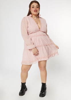 plus pink ditsy ruffled deep v tiered dress - Main Image