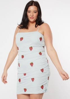 plus blue strawberry embroidered ruched side dress - Main Image