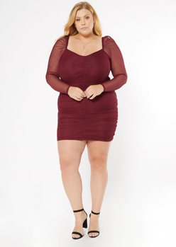 plus burgundy ruched long sleeve bodycon dress - Main Image