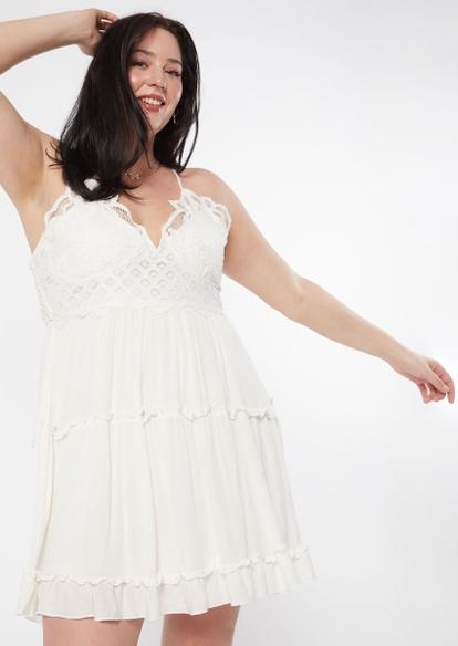 plus ivory crochet wire v neck ruffle mini dress - Main Image