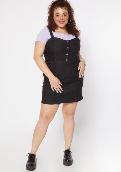 plus black button front jean dress - Main Image