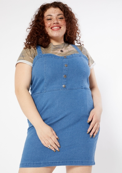 plus medium wash button front jean dress - Main Image