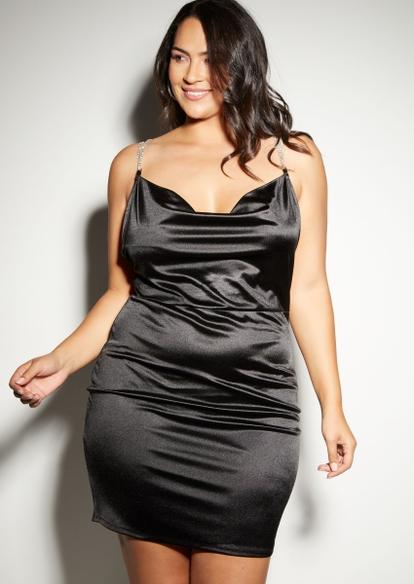 plus black satin rhinestone chain strap dress - Main Image