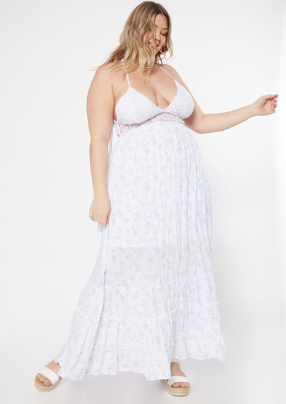 plus white lace ditsy floral tiered maxi dress - Main Image