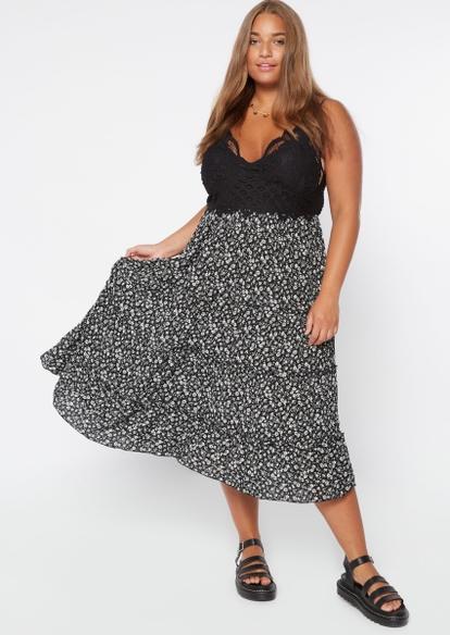 plus cheetah print crochet inset midi ruffle tiered dress - Main Image