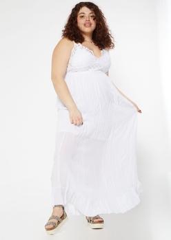 plus white crochet ruffle maxi dress - Main Image