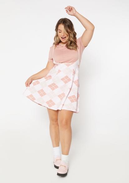 plus 2-piece pink argyle print pleated dress and tee - Main Image