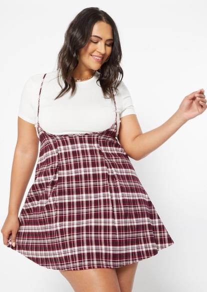 plus two piece burgundy plaid pleated layered dress - Main Image